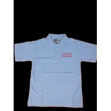 St John Fisher Blue Polo  Shirt with School Logo