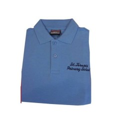 St Teresa's Blue Polo T Shirt with Logo